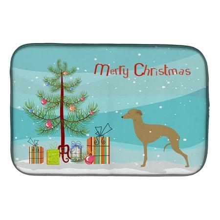 Italian Greyhound Merry Christmas Tree Dish Drying Mat ()
