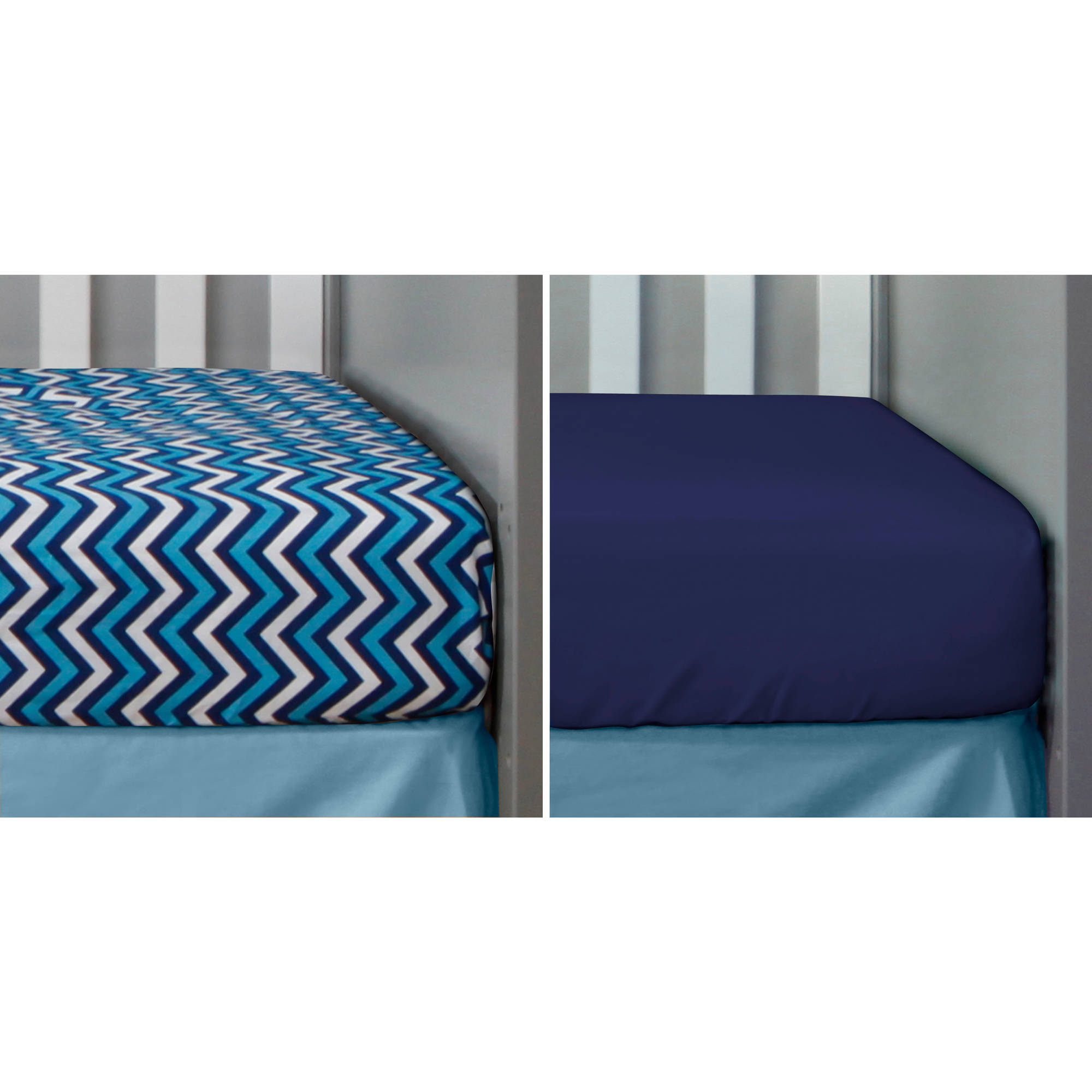 Bananafish Studio Anchors Away Set of 2 Crib Sheets, Zigzag/Navy Solid