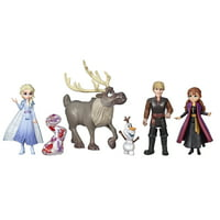 Disney Frozen 2 Adventures Collection Small Doll Playset with Elsa, Anna, Kristoff, Olaf, Sven & Gale Accessory