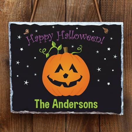 Happy Halloween Personalized Slate - Happy Halloween Please Take Two Sign