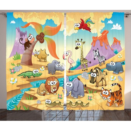 Cartoon Decor Curtains 2 Panels Set, Savannah Animal Family With Volcanos Mammals Nature Beasts Hippo Camel Cartoon Sketch Design, Living Room Bedroom Accessories, By Ambesonne (Windows 7 Family)