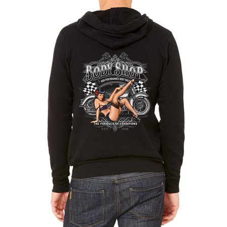 Men's Body Shop Chopper Bike C9 Black Fleece Zipper Hoodie Small Black