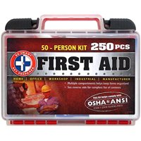 """Be Smart Get Prepared 250 Piece First Aid Kit Exceeds OSHA ANSI Standards for 50 People - Office Home Car School Emergency Survival Camping Hunting and Sports """