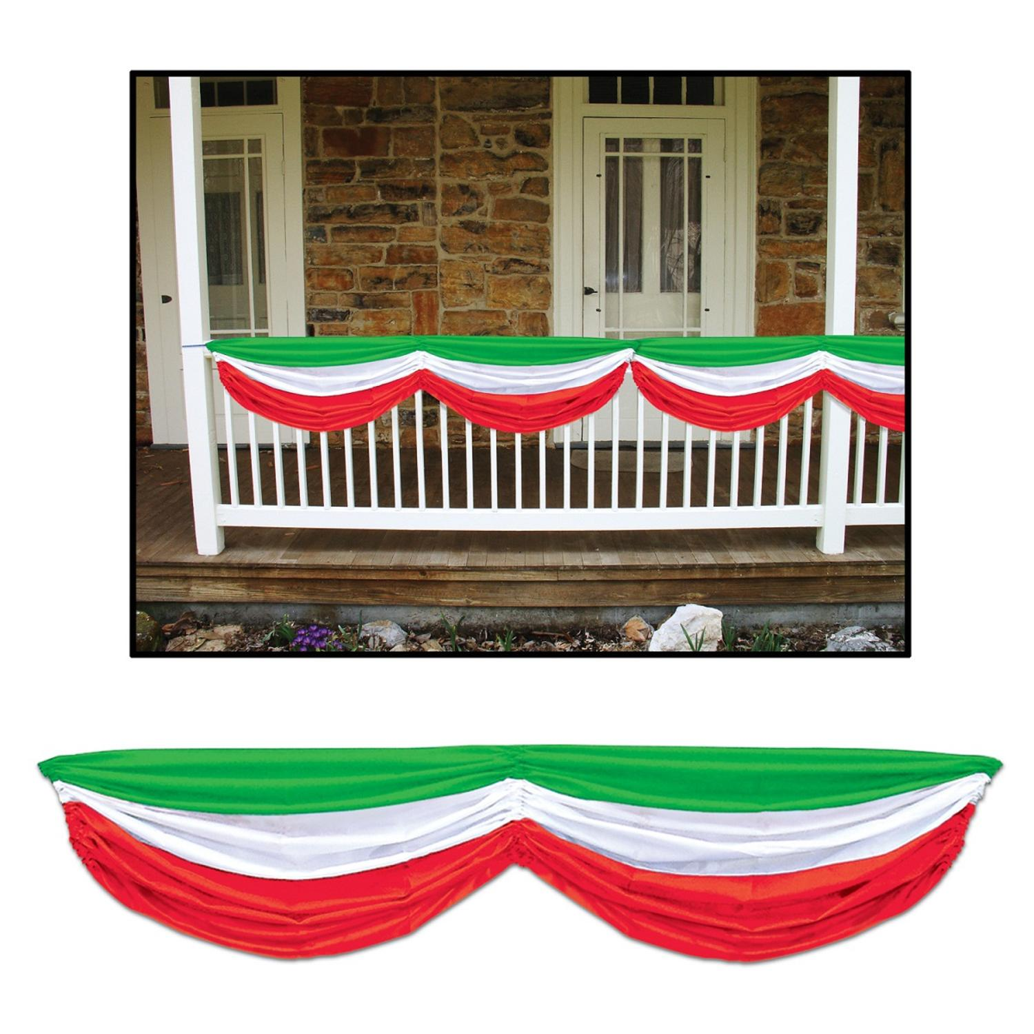 Pack of 6 Green, White and Red Italian Festival Fabric Bunting Hanging Decorations 70""