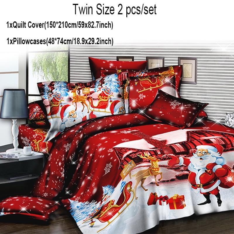 4pcs Christmas Bedding Set 3d Red Santa Claus Printed 1x Quilt