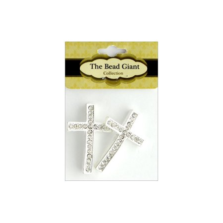 The Bead Giant Bead Rhinestone Cross Thin 2pc Silv](Giant Cross)