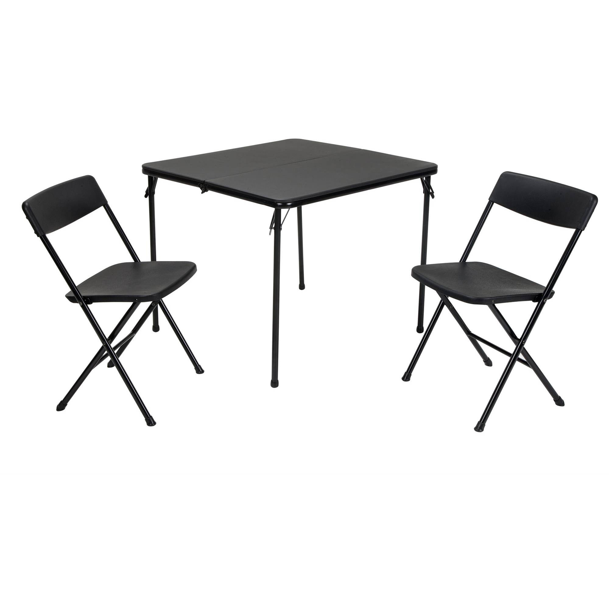 Cosco 3-Piece Centerfold Table and 2 Chairs, Indoor/Outdoor Tailgate Set, Multiple Colors