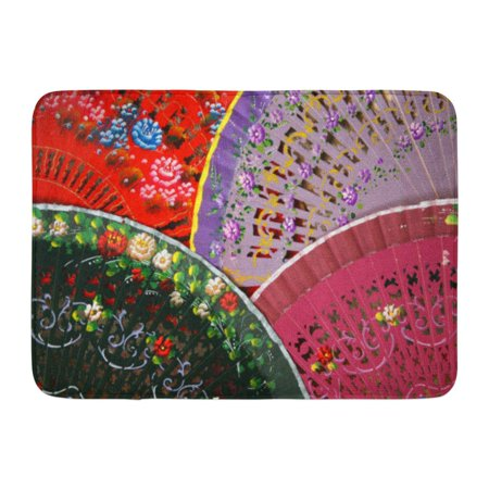 GODPOK Madrid Red Flamenco Colorful Spanish Fans Arranged for Sale in Store Segovia Spain Black Culture Hand Rug Doormat Bath Mat 23.6x15.7 inch