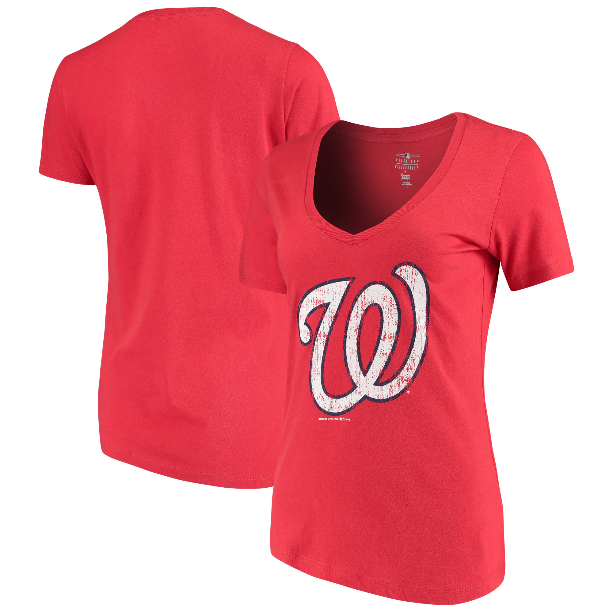 Women's 5th & Ocean by New Era Red Washington Nationals V-Neck Team T-Shirt