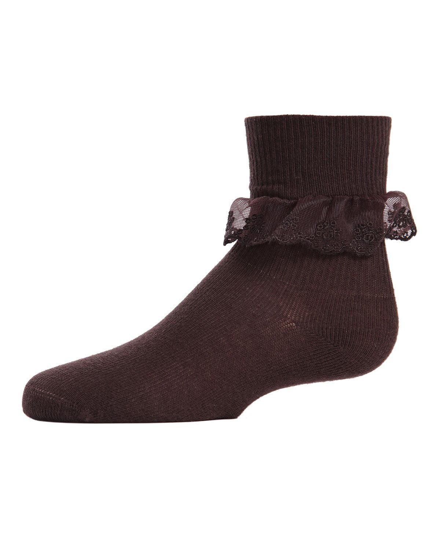 MeMoi Girls Ruffle Dress Socks | Girls Ruffle Socks by MeMoi 4 / Brown MK 5061