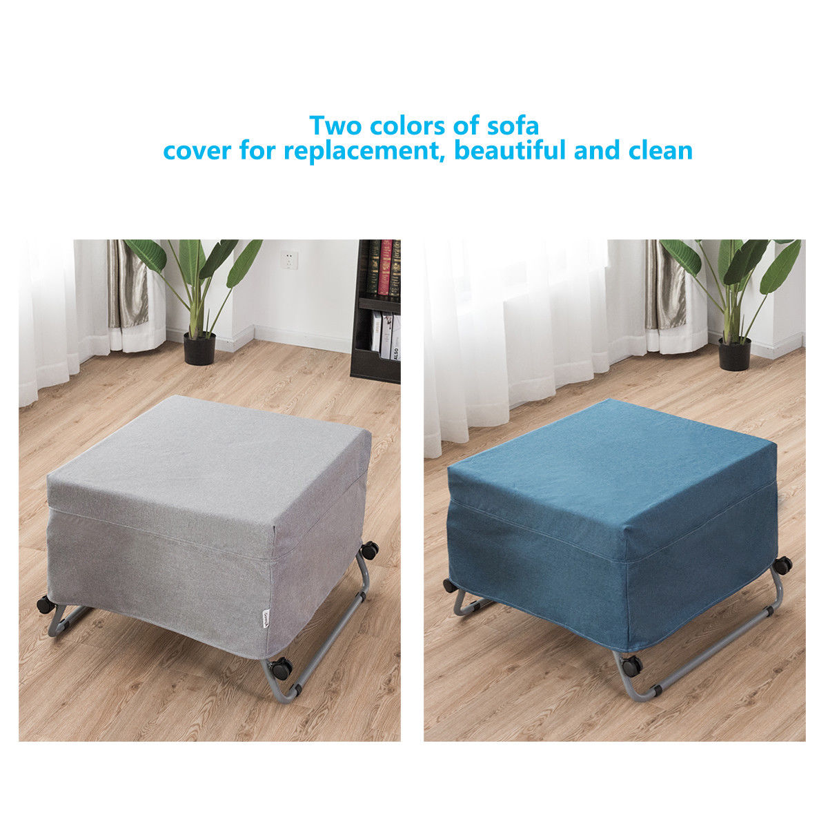 Convertible Sofa Bed Ottoman Couch Mattress Lounge Sleeper w/ Casters - image 5 de 9