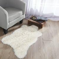 Ottomanson Flokati Faux Sheepskin Soft Pile Shag Accent Area Rug, 2' x 3', White