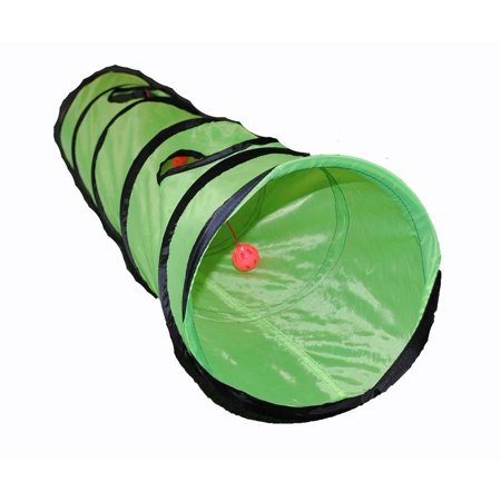 Brand New Kitty Cat Play Tunnel Pet Toy   Four Exit Holes   4 Feet Long   Green