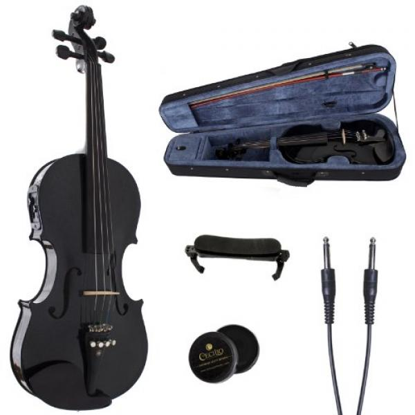 Cecilio 4 4 CVNAE-Black+SR Ebony Fitted Acoustic Electric Violin in Metallic Black by