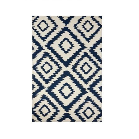 7 5 X 9 5 Imperial Blue And Snow White Hand Tufted Wool Area Throw Rug