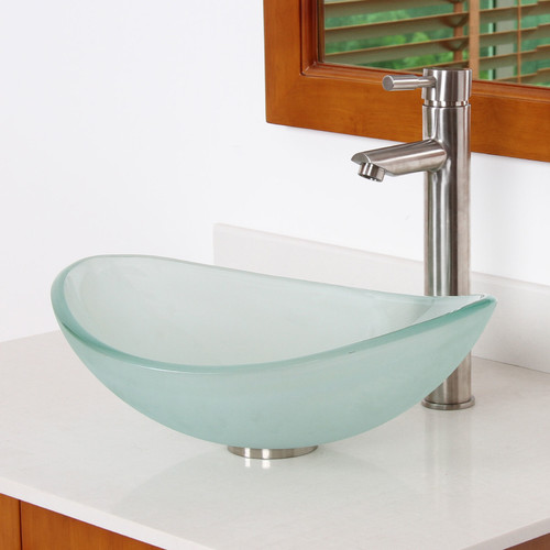 Elite Mini Tempered Glass Boat Shaped Oval Bowl Bottom Vessel Bathroom Sink