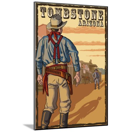 Tombstone Arizona Cowboy Standoff Wood Mounted Print