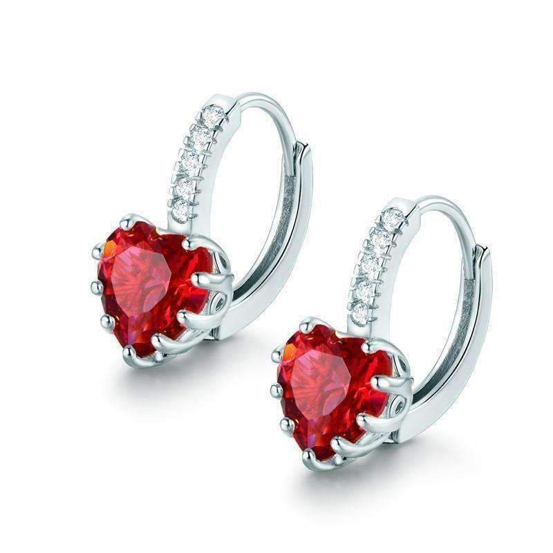 d71baec00fffd CLEARANCE - Heart Shaped Cabernet Red Diamond CZ Solitaire Hoop Earrings  White Gold