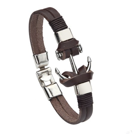 Brown Leather Cord Bracelet - BodyJ4You Bracelet Leather Bangle Cord Brown Anchor Nautical Design