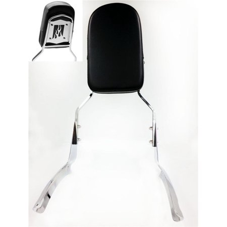 - HTT Motorcycle Chrome Flame Backrest Sissy Bar with Leather Pad For Honda Shadow Aero 1100
