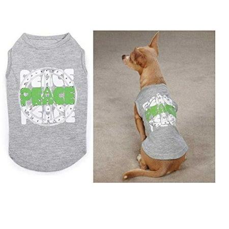Dog Shirt Zack & Zoey Rhinestone Studded Peace TShirt Grey Green Small CLOSEOUT
