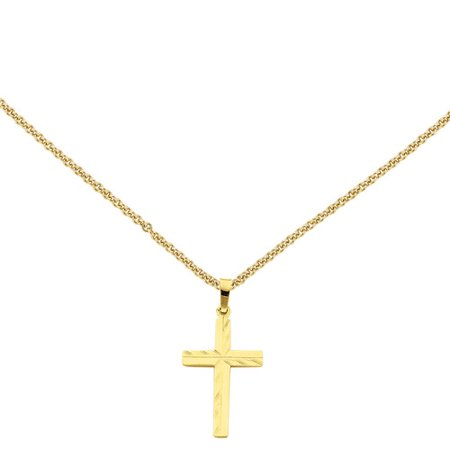 Primal Gold 14 Karat Yellow Gold Diamond-cut Hollow Cross Pendant with 18-inch Cable Chain