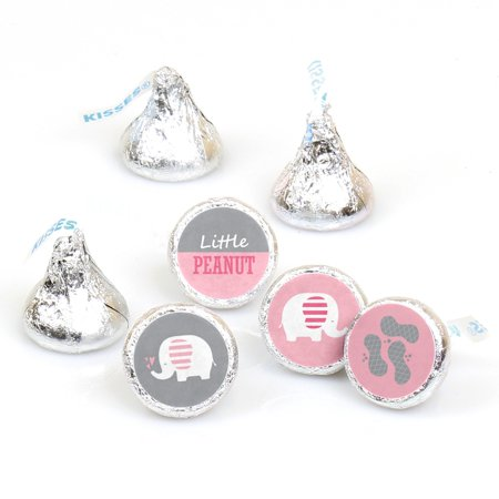 Pink Elephant - Girl Baby Shower or Birthday Party Round Candy Sticker Favors - Labels Fit Hershey's Kisses -108 - Pink And Grey Baby Shower Decorations
