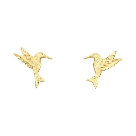 Hummingbird Stud Earrings Solid 14k Yellow Gold Bird Studs Diamond Cut Polished Design 12 x 11 mm