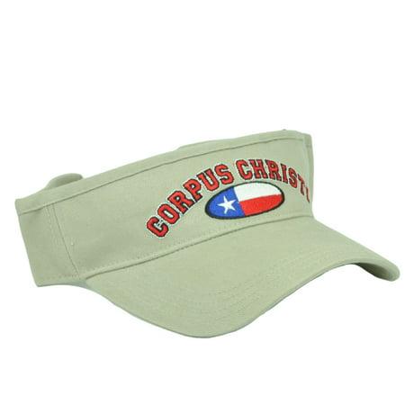 Corpus Christi Texas City State Beige Sun Visor Adjustable Hat Beaches Bay (Bday Hat)