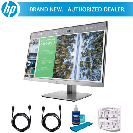 Hewlett Packard EliteDisplay 23.8-Inch Screen LED-Lit Monitor Silver (1FH47A8#ABA) with 2x 6ft High Speed HDMI Cable, Universal Screen Cleaner & Stanley SurgePro 6 NT 750 Joule 6-Outlet Surge - Hewlett Packard 22 Inch
