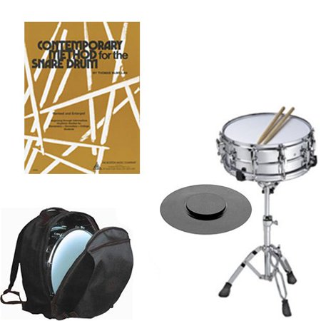 Band Directors Choice Complete Student Snare Drum Kit w/Stand, Backpack Carry Bag, Drum Practice Pad & Sticks & Contemporary Method for Snare Drum Book