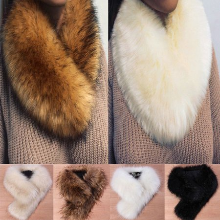 Faux Fur Collar Scarf Fluffy Neck Warmer Shawl for Womens - Shawl Collar Tie