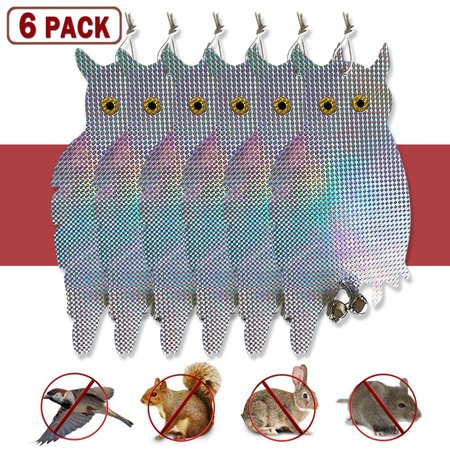 [6 Packs] Fake Owl Bird Scare Hanging Repellent Device Holographic Reflective Deterrent with Bells Easy Installation & Birds Away From Your Garden, Windows & Yard - Fake Beards For Sale