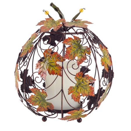 "12.5"" Decorative Autumn Harvest Maple Leaf Scroll Pillar Candle Lantern"