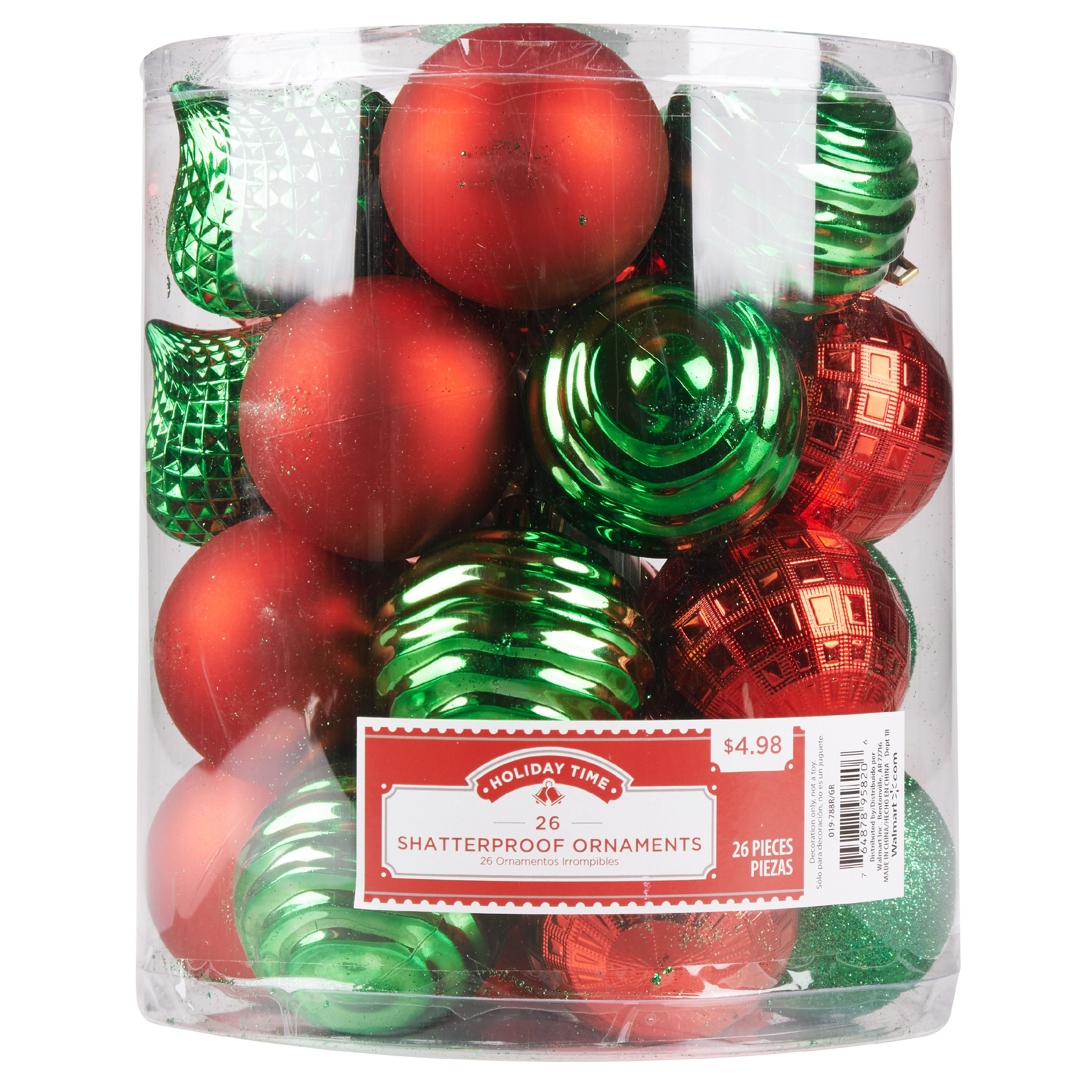 Holiday Time Shatterproof Ornaments, Red & Green, 26 Count ...