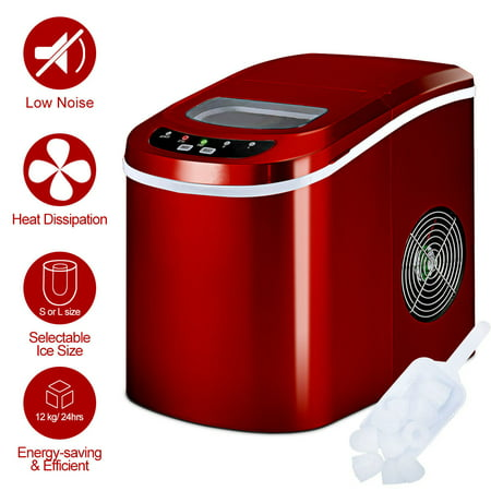 Costway Portable Compact Electric Ice Maker Machine Mini Cube 26lb / Day Red - image 9 of 10