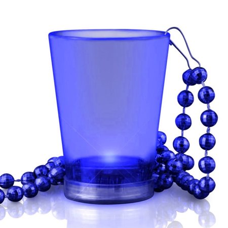 Light Up Blue Shot Glass On Blue Beaded Necklaces](Shot Glass Necklaces)