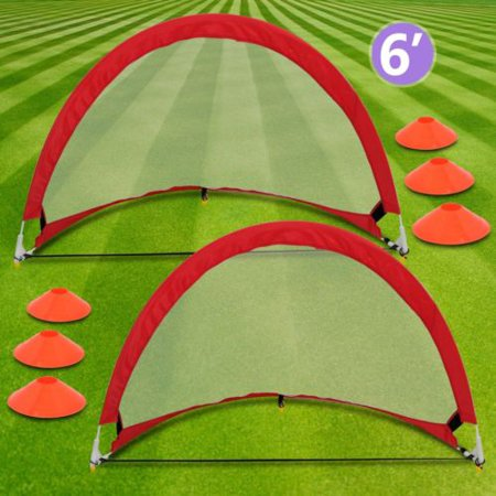 Zeny 6' Portable Round Pop-Up Soccer Goal W/ Cones, Case Football Training - Blow Up Football Goal