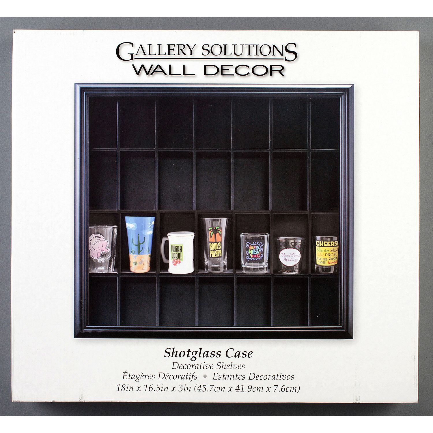Product of Gallery Solutions Shot Glass Display Case, Black - Display Cases [Bulk Savings]