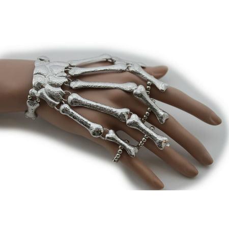 Women Silver Wrist Bracelet Metal Hand Chain Rings Rocker Unique Skeleton Bones - Skeleton Hand Ring Bracelet