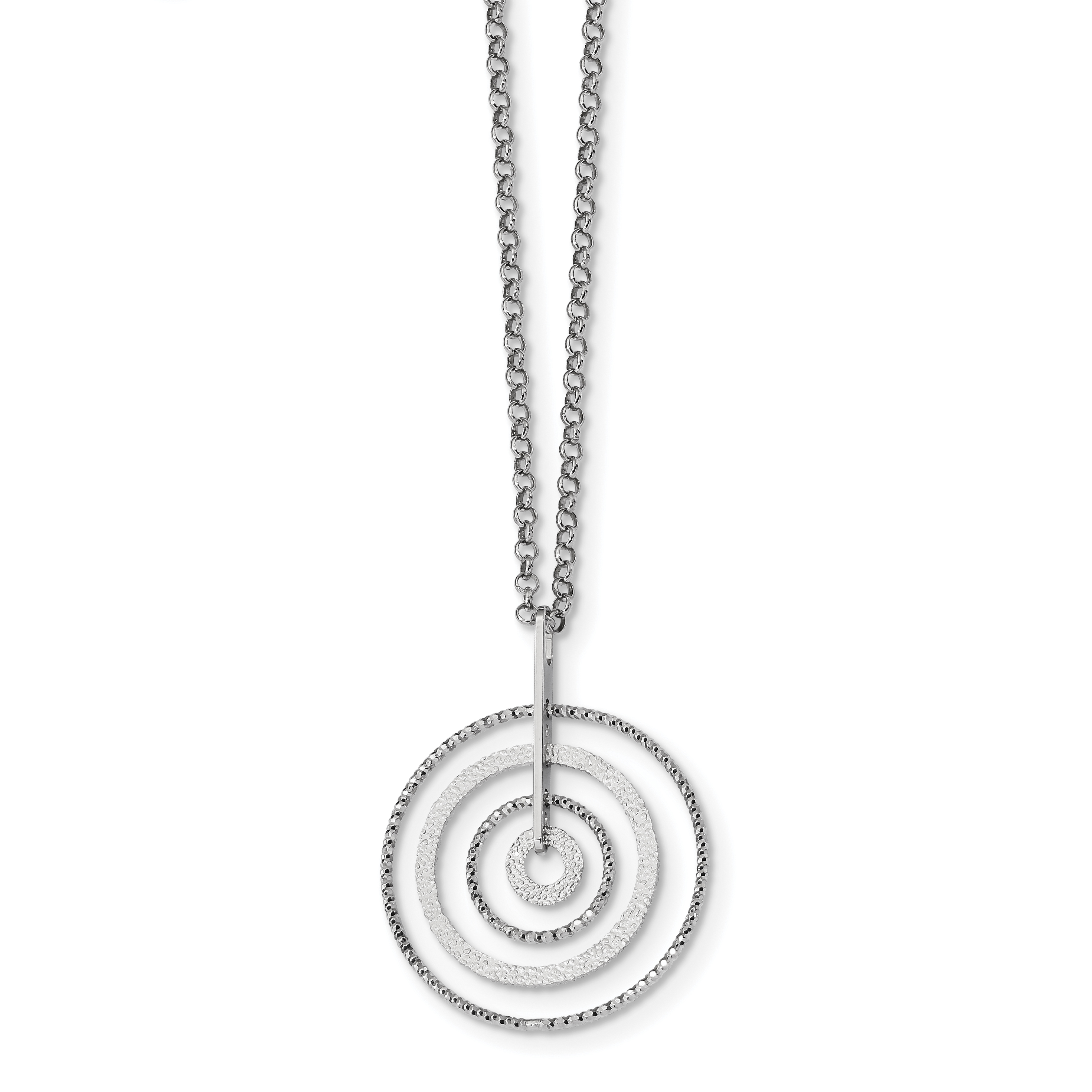 Sterling Silver Rhodium-plated D/C Circles w/2in ext. Necklace