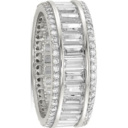 Sterling Silver Baguette & Round CZ Eternity Ring - image 3 de 3