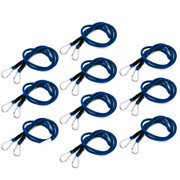 """Wideskall 47"""" Bungee Cord Blue with Carabiners Hooks (Pack of 10)"""