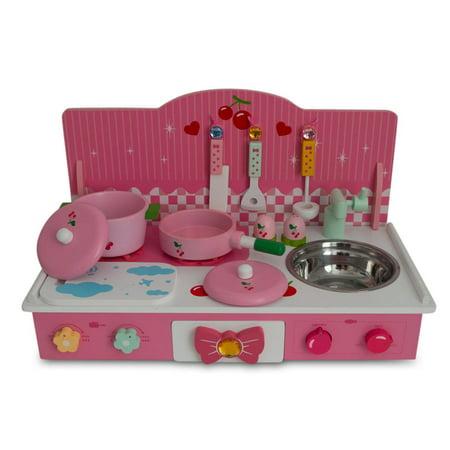 22 wooden pink toy kitchen play set. Black Bedroom Furniture Sets. Home Design Ideas