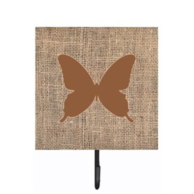 Butterfly Burlap and Brown Leash Or Key Holder - image 1 of 1