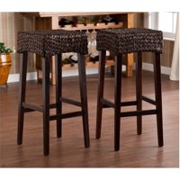 "Pemberly Row 30"" Woven Wood Bar Stool in Brown (Set of 2) by Pemberly Row"