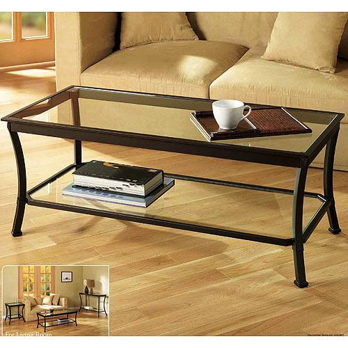 Mendocino Coffee Table, Metal & Glass