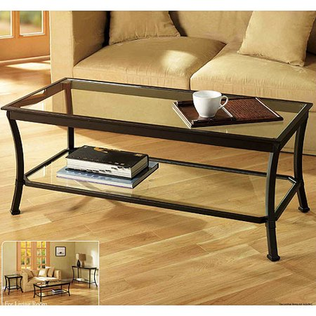 Mendocino Coffee Table, Metal & Glass