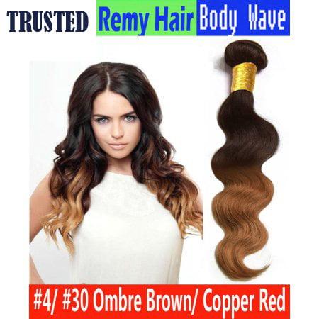 Unique Bargains Ombre Two Tone #4 30 Color Brazilian 3 Bundle with closure 100% Human Hair 12