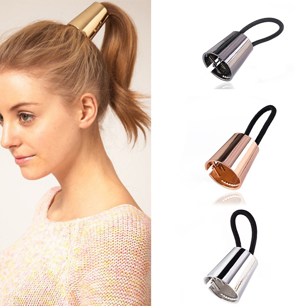 HiCoup Trendy Women Alloy Horn Hair Cuff Stretch Ponytail Holder Elastic Rope Hairband
